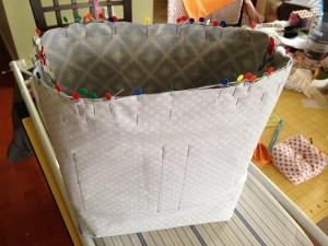 Tote bag pinned inside out