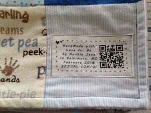 Printed fabric label sewn into the quilt, looks awesome!