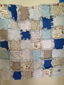 Finished snipping the Rag Quilt.