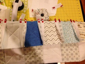 Pinning and Clipping together rows of Quilt Squares for sewing
